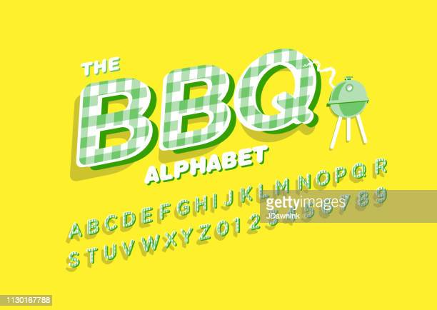 Barbecue Alphabet with checked pattern texture