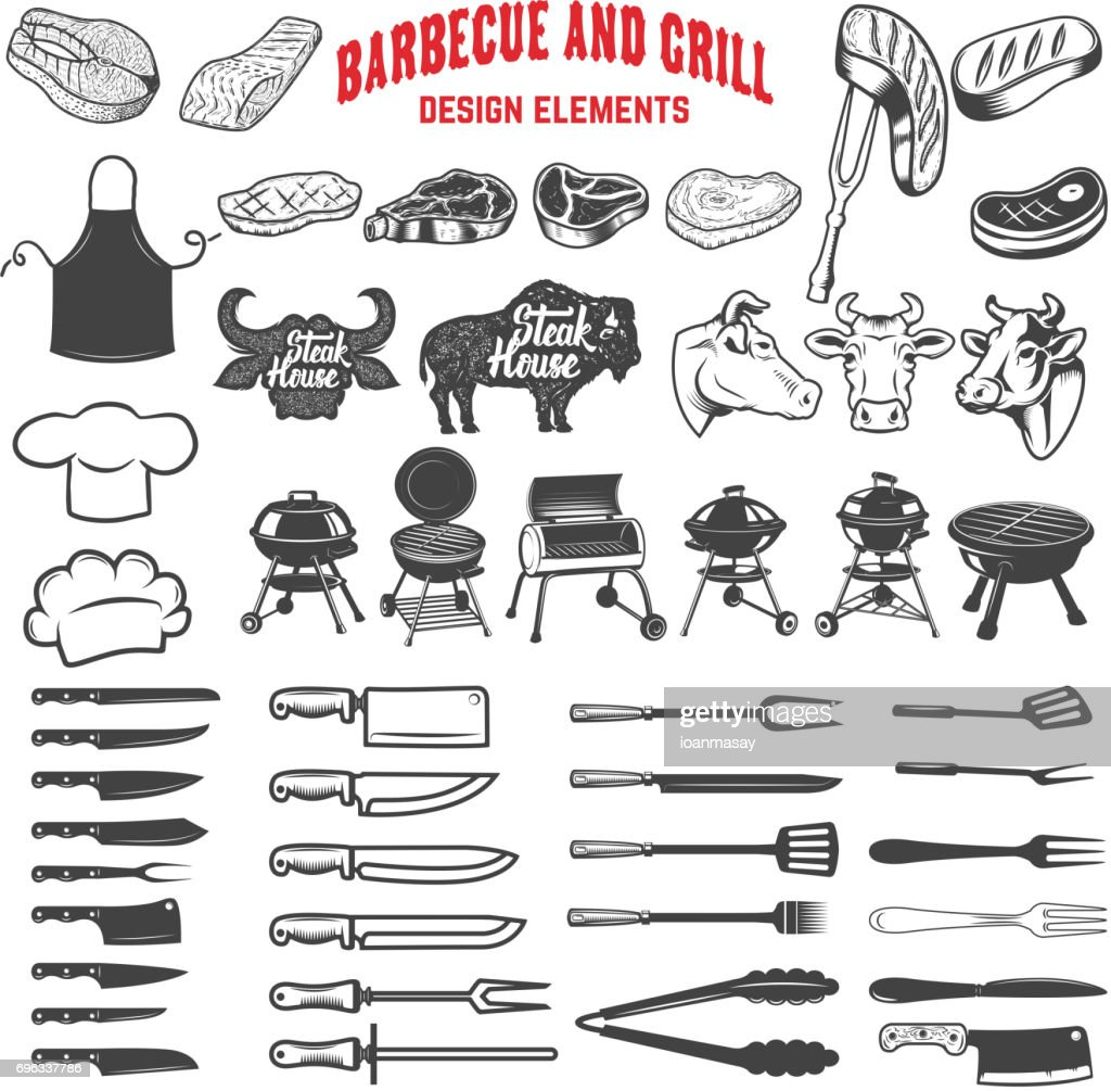 Barbecue and grill. Design elements for label, emblem, sign, menu, poster. Vector illustration