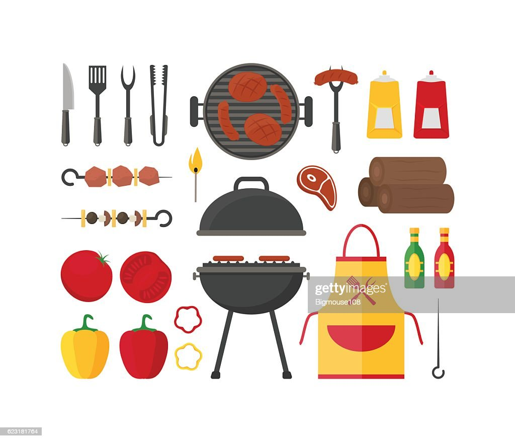 Barbecue and Grill Set. Vector