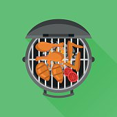 Barbecue and grilled chicken. Top view. Vector flat style illustration.