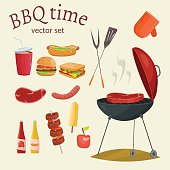 Barbecue and picnic vector set