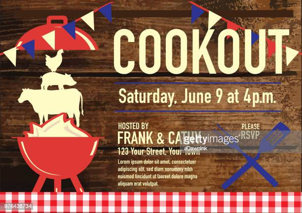barbecue cookout invitation design template - tablecloth stock illustrations, clip art, cartoons, & icons