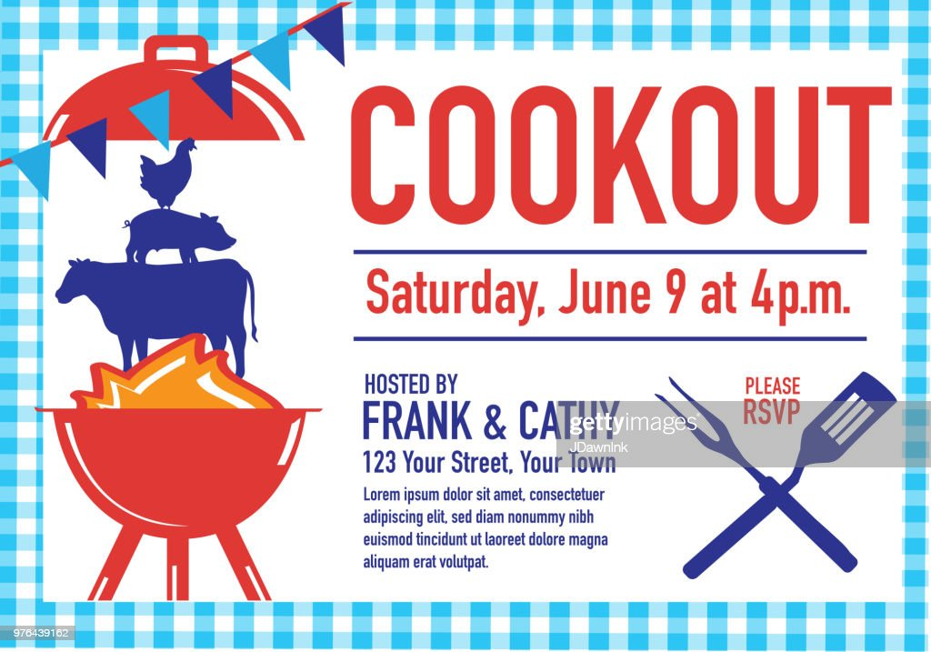 barbecue cookout invitation design template vector art getty images
