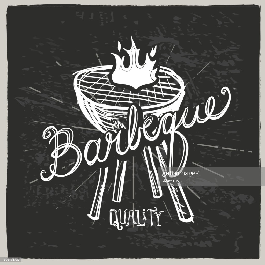 Barbecue grill and hand lettered text label on  textured
