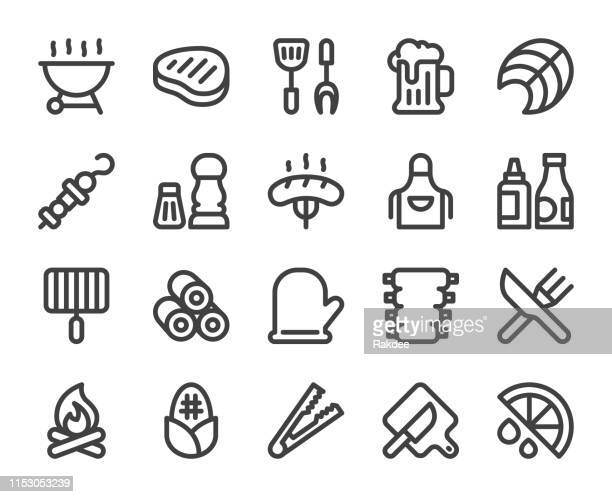 barbecue grill - bold line icons - fillet stock illustrations, clip art, cartoons, & icons