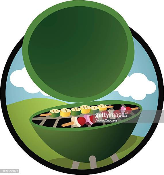 barbecue grill  cooking healthy vegetables on skewers: retro cartoon style - marrom stock illustrations