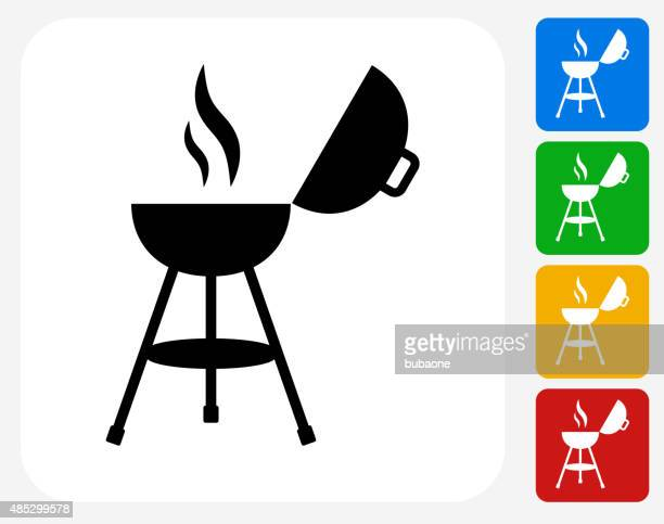 barbecue grill icon flat graphic design - smoking issues stock illustrations, clip art, cartoons, & icons