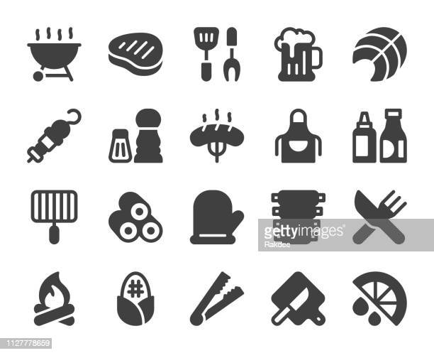 barbecue grill - icons - pepper seasoning stock illustrations