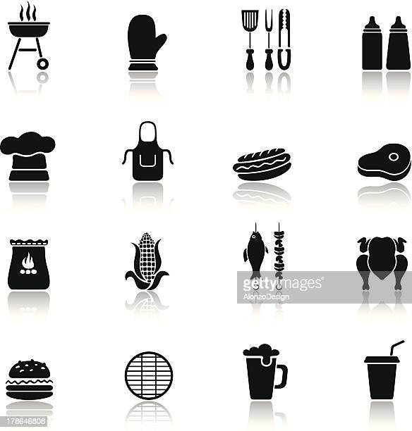 barbecue grill icons - sirloin steak stock illustrations, clip art, cartoons, & icons