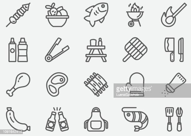 BBQ-Barbecue Grill lijn pictogrammen
