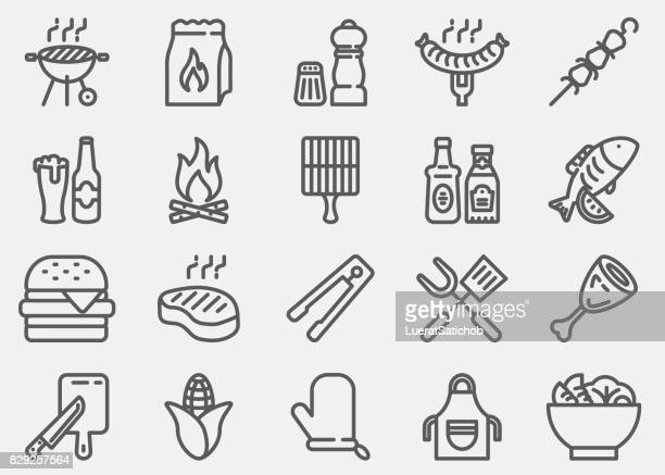 bbq barbecue grill line icons - meat stock illustrations