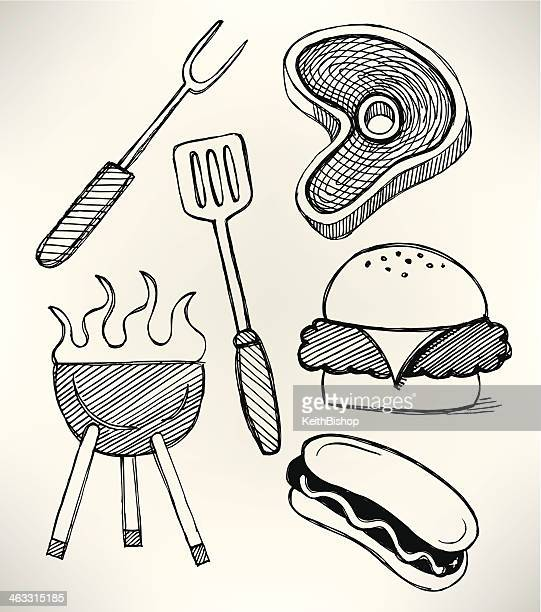 Barbecue Grill Picnic Cook Out Doodles