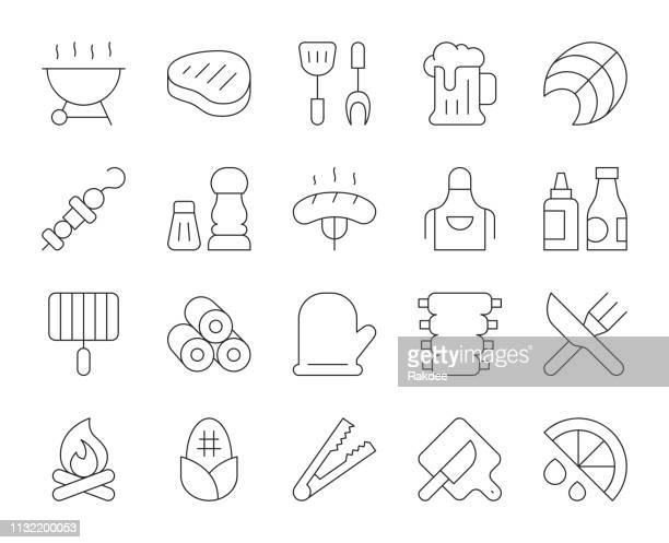 barbecue grill - thin line icons - fillet stock illustrations, clip art, cartoons, & icons
