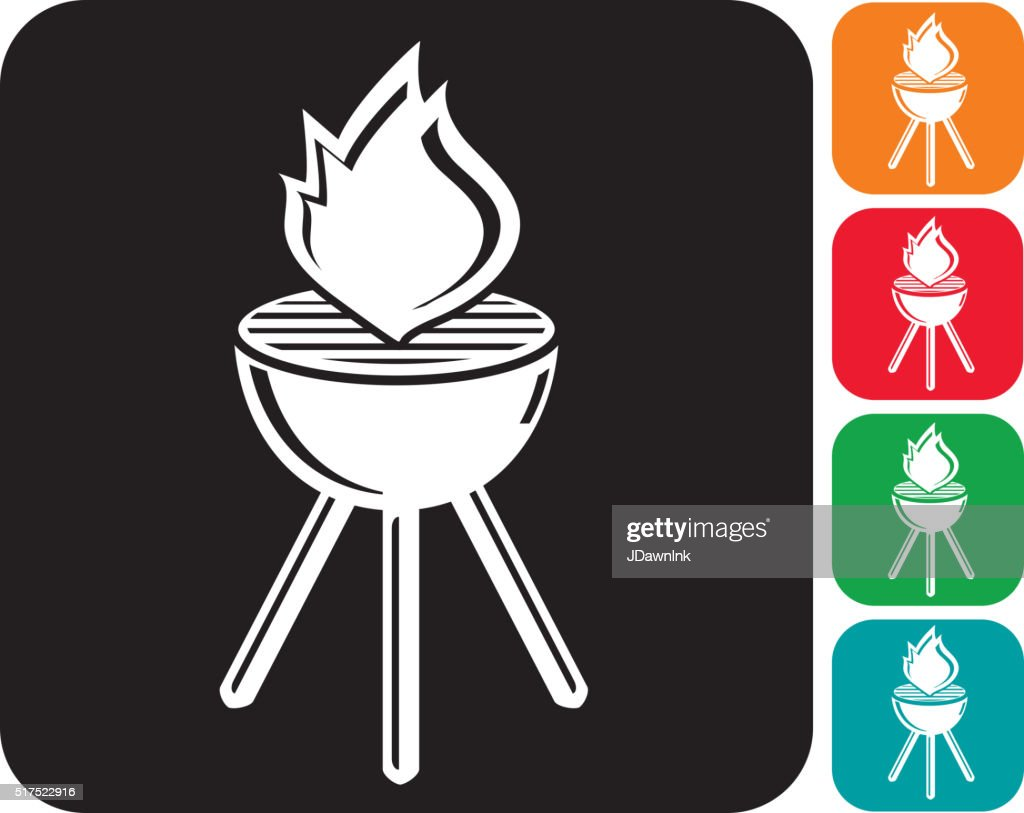 Barbecue grill with flame icon set
