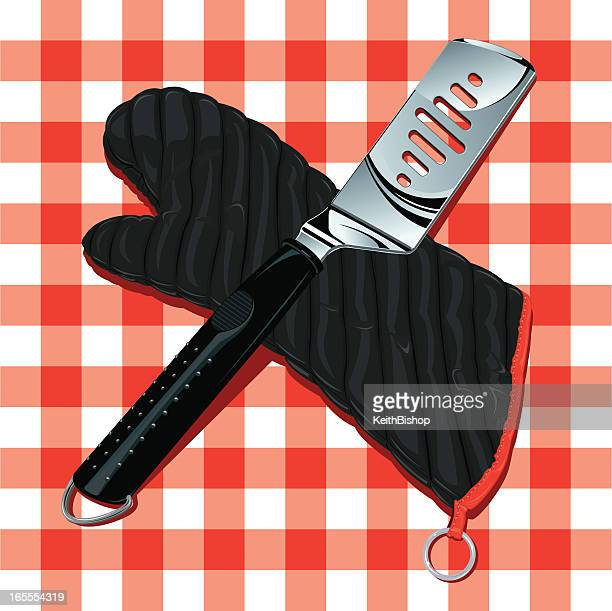 barbecue grilling mitt and spatula on tablecloth - {{relatedsearchurl('racing')}} stock illustrations, clip art, cartoons, & icons
