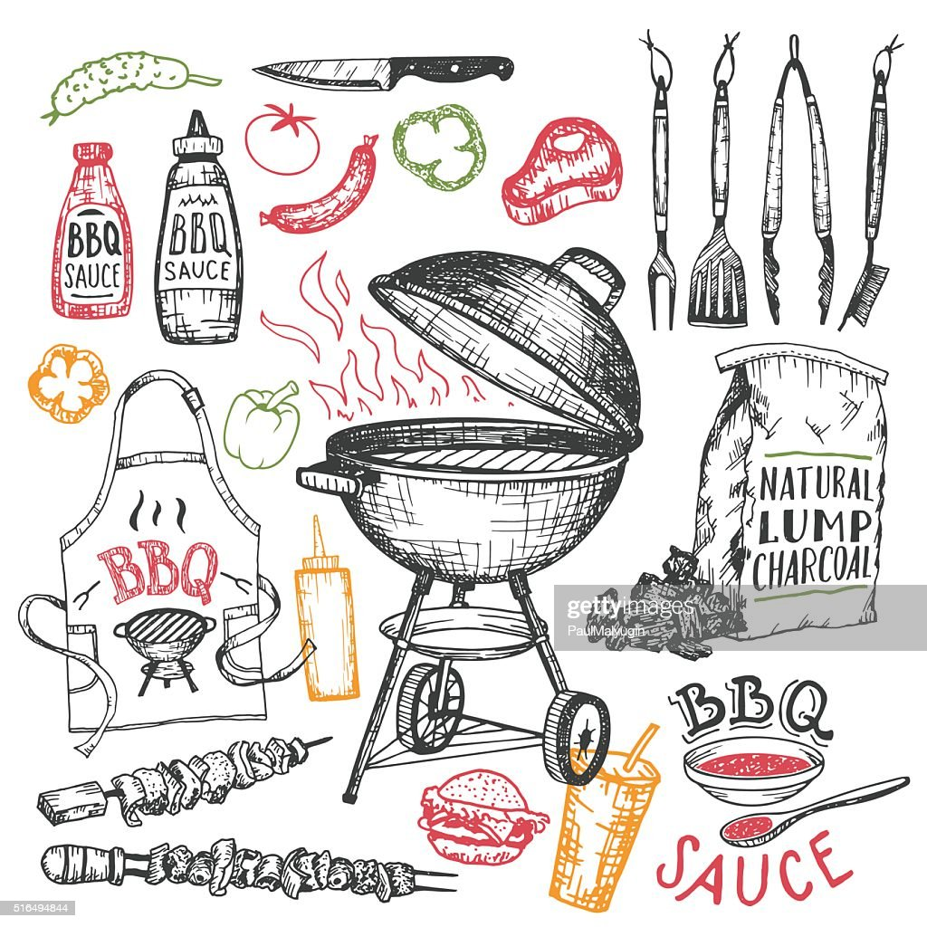 Barbecue hand drawn elements set isolated on white
