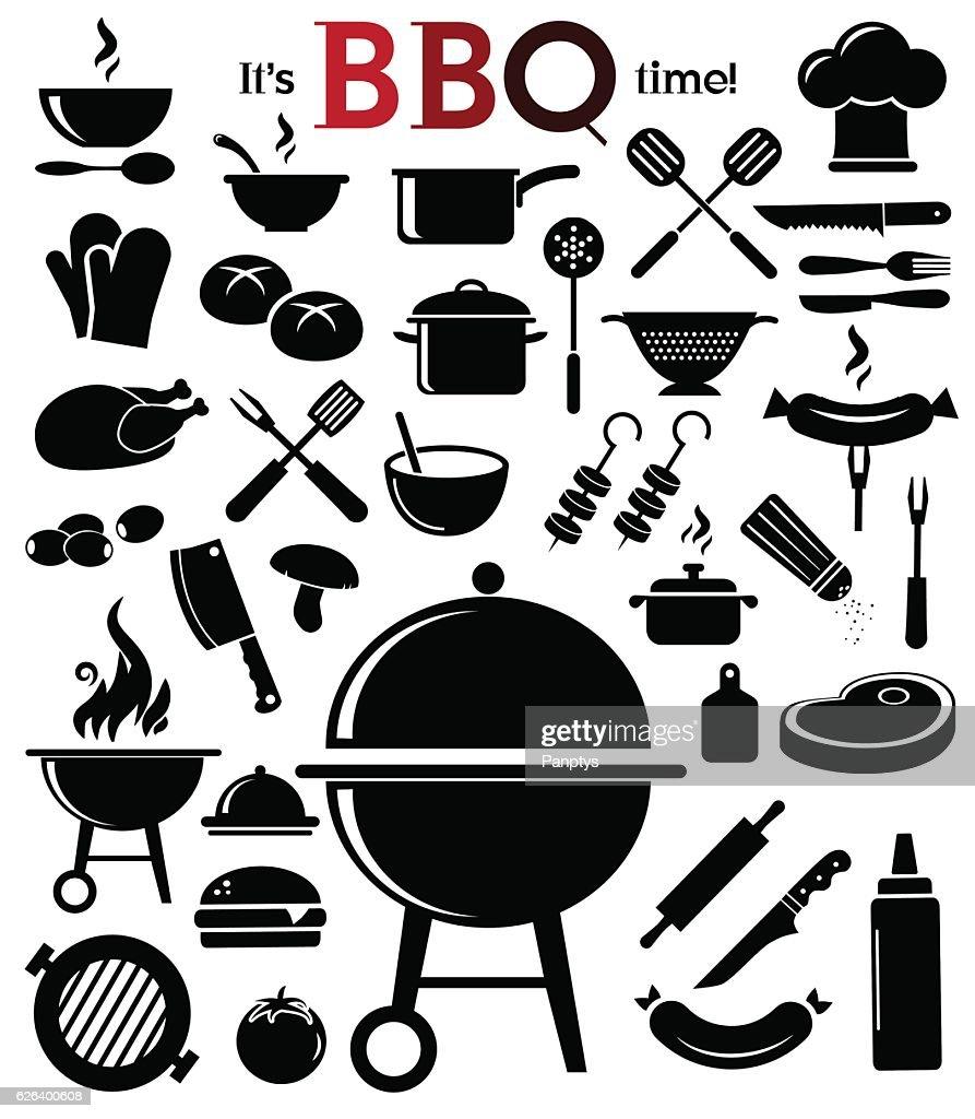 Barbecue icon set.