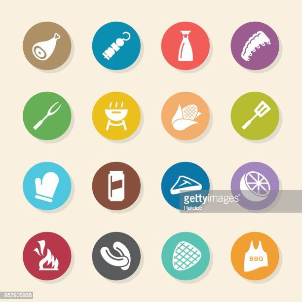 barbecue icons - color circle series - drink can stock illustrations, clip art, cartoons, & icons