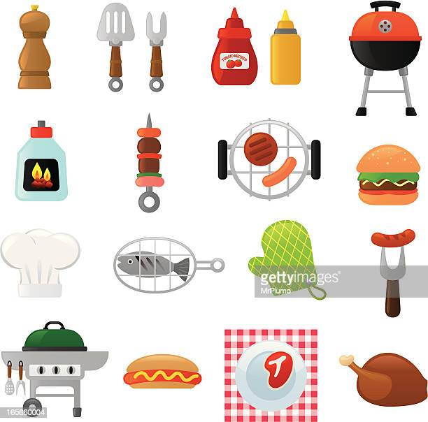 barbecue icons   smoso series - ketchup stock illustrations, clip art, cartoons, & icons
