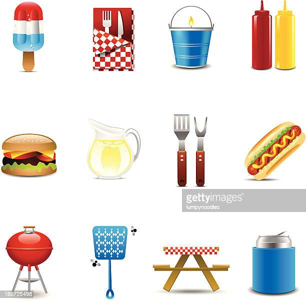 barbecue icons - flavored ice stock illustrations, clip art, cartoons, & icons