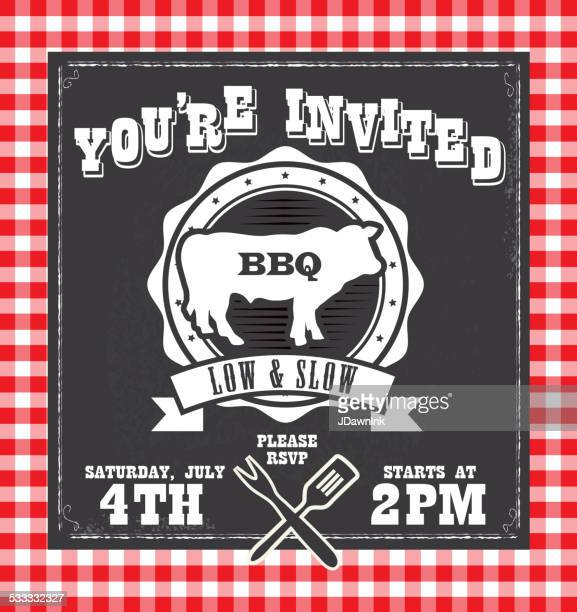 BBQ barbecue invitation design template with steer