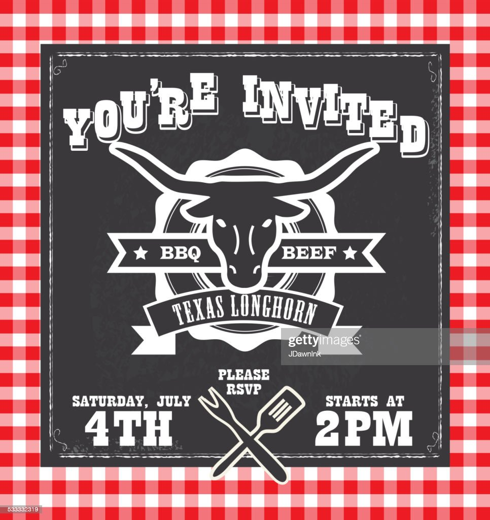 BBQ barbecue invitation design template with texas longhorn silhouette