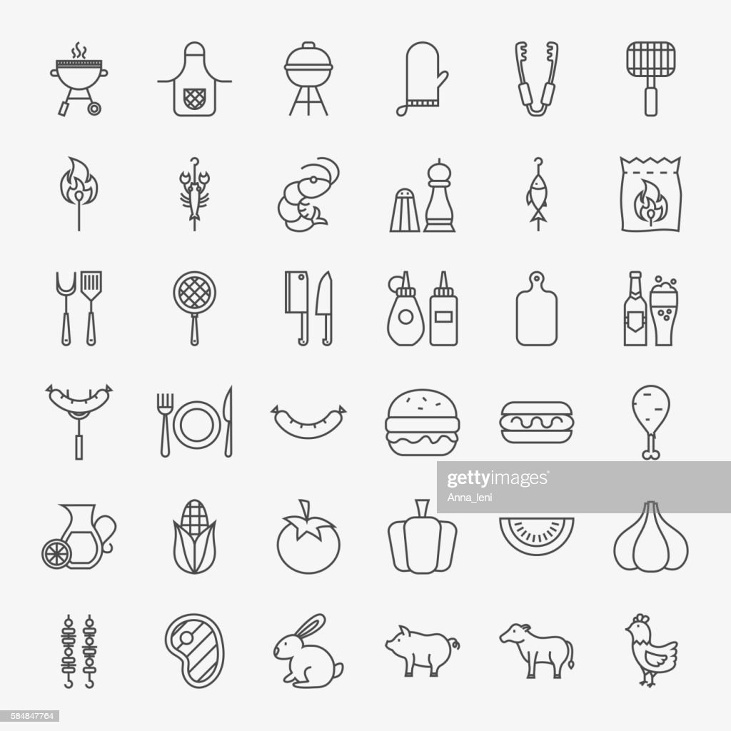 Barbecue Line Icons Big Set