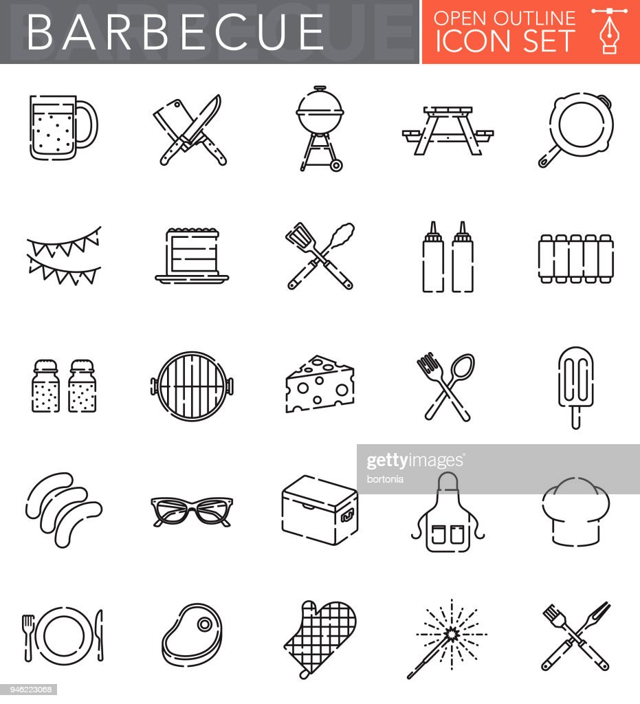 Barbecue Open Outline Icon Set