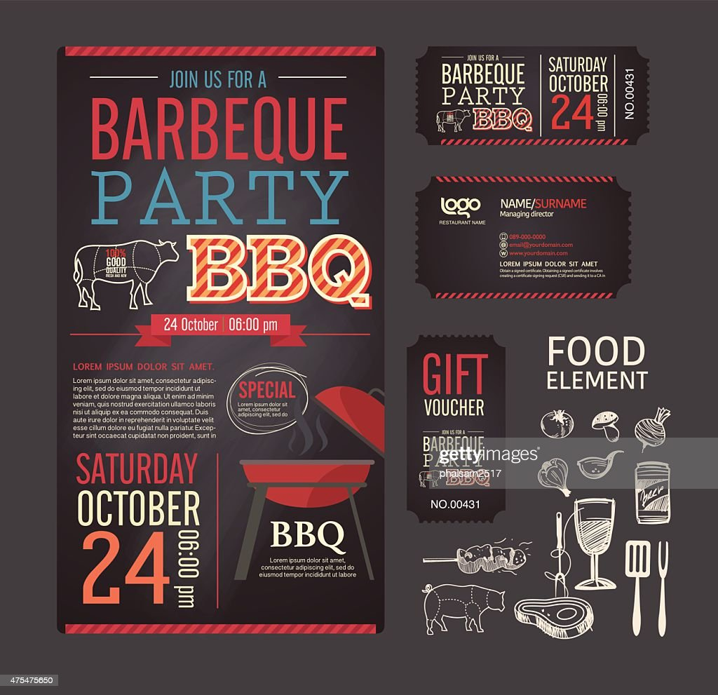 Barbecue party BBQ template menu design set.