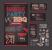 Barbecue party BBQ template menu design set.