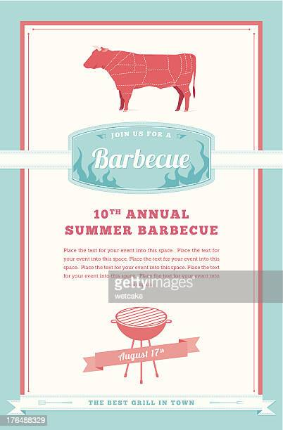 barbecue party invitation, beef design - sirloin steak stock illustrations, clip art, cartoons, & icons