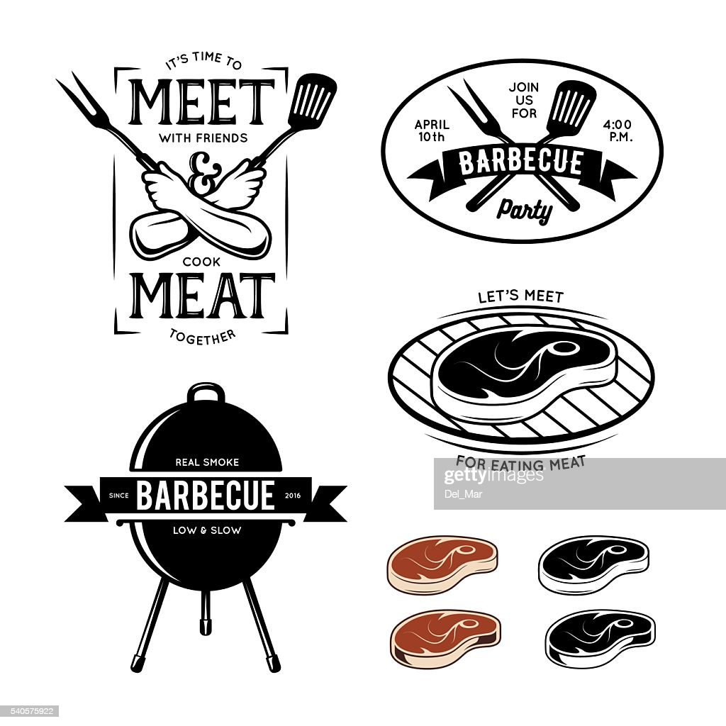 Barbecue related labels, badges and design elements. Vector vintage illustration.