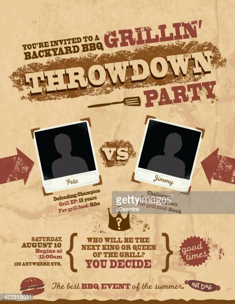 Barbecue Throwdown party invitation design template