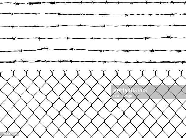 barbed wire and fence - barbed wire stock illustrations