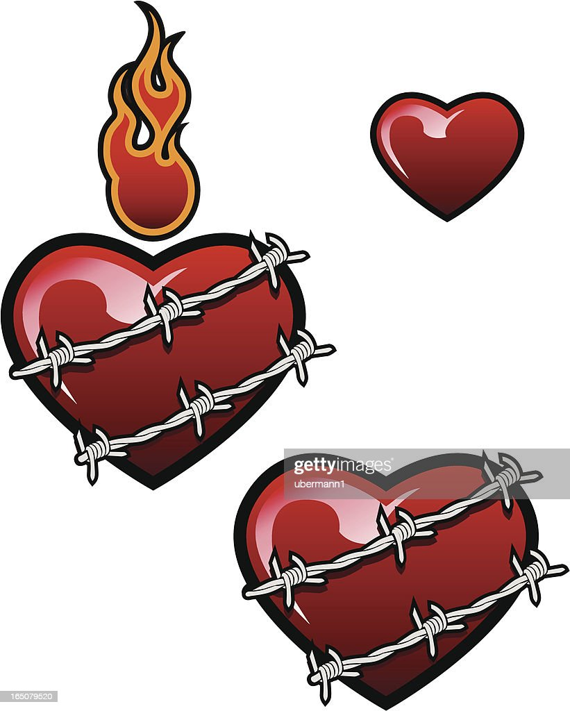 Barbed Wire Heart Vector Art | Getty Images