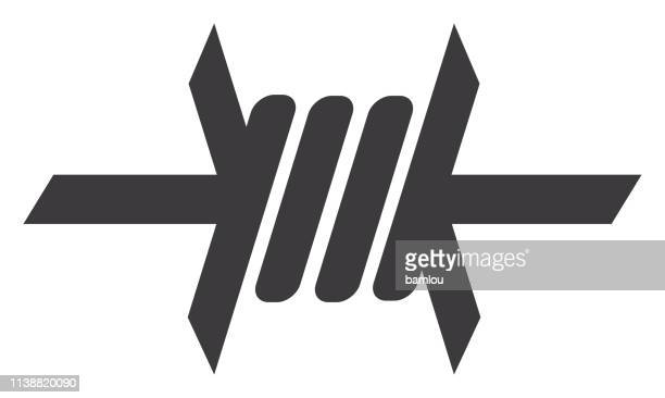 barbed wire icon - barbed wire stock illustrations