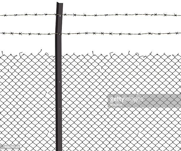 barbed wire - steel cable stock illustrations