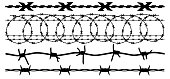 Barbed wire, vector silhouette set