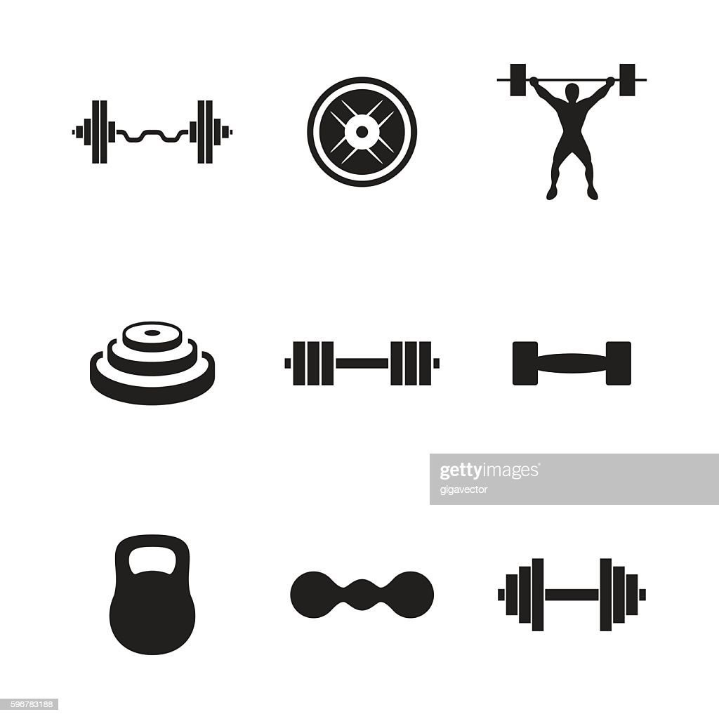 Barbell vector icons