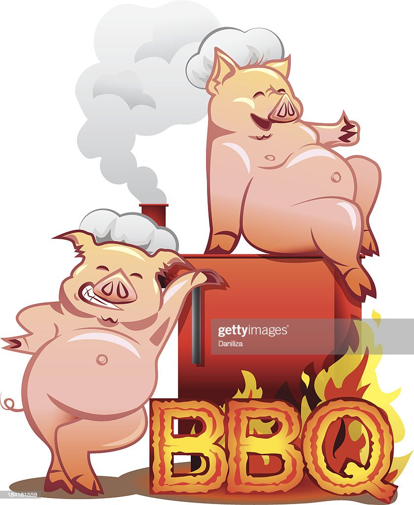 Barbeque grill - Two funny pigs near the red smoker
