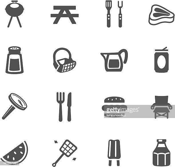 barbeque symbols - meat stock illustrations
