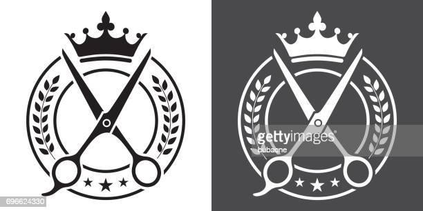 床屋、理髪店の黒と白のベクトル バッジ - 美容師点のイラスト素材/クリップアート素材/マンガ素材/アイコン素材