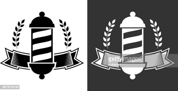 barber and barbershop black and white vector badge - barber pole stock illustrations
