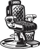 Barber chair illustration on white background.