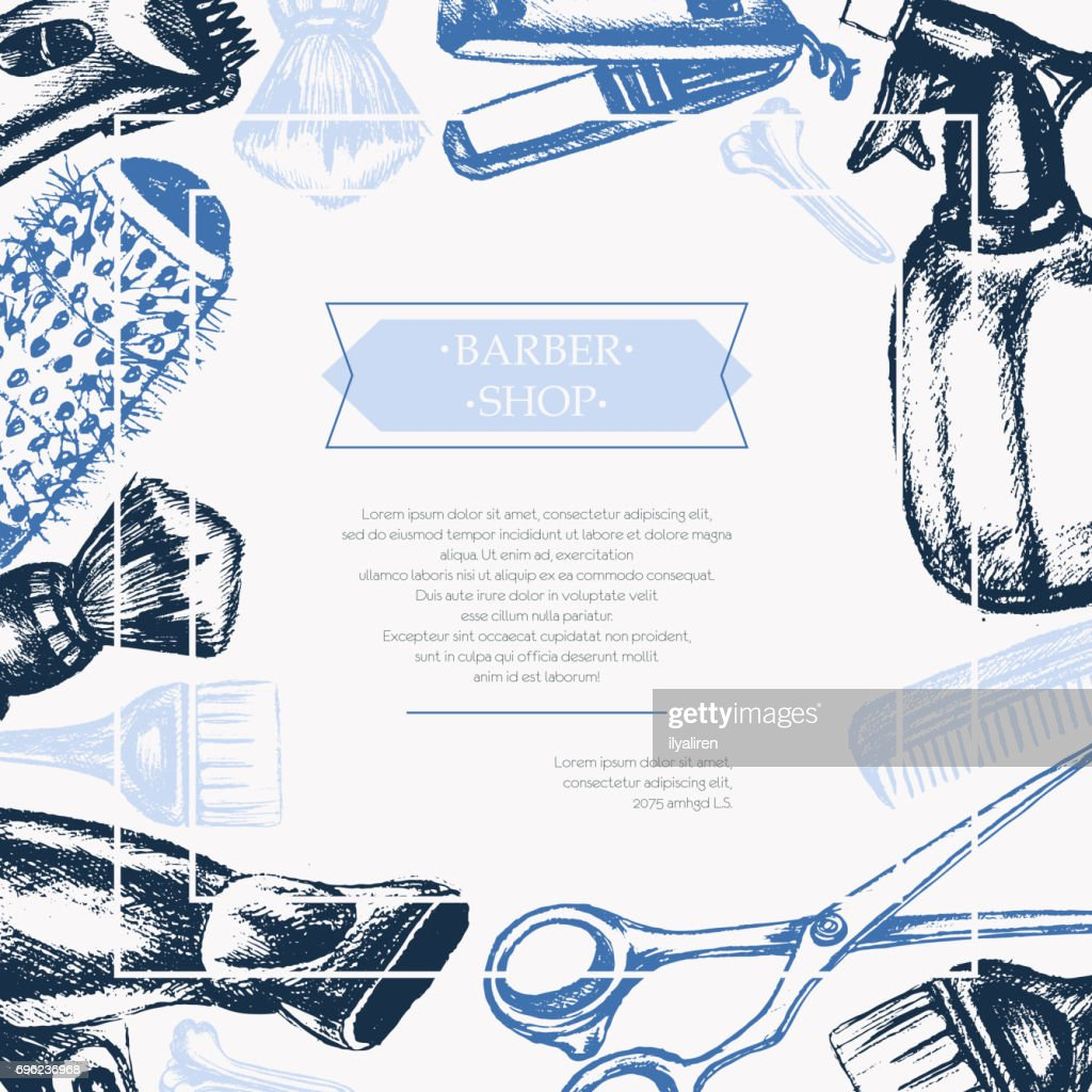 Barber Equipment - vector hand drawn postcard template