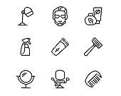barber hand drawn icon set design illustration, hand drawn style design