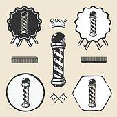 Barber pole vintage symbol emblem label collection