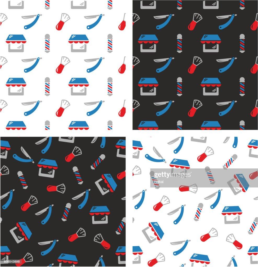 Barber Shop Aligned & Random Seamless Pattern Color Set