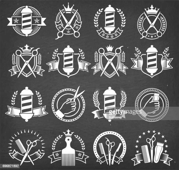 チョーク ボードのバーバー ショップ黒と白バッジ - 美容師点のイラスト素材/クリップアート素材/マンガ素材/アイコン素材