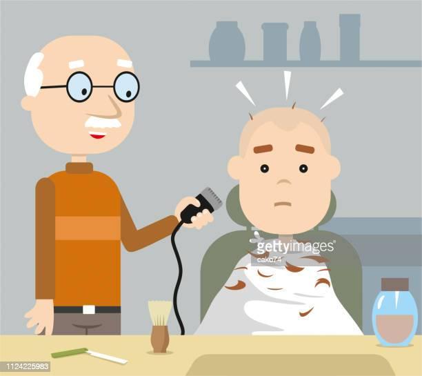 ilustrações de stock, clip art, desenhos animados e ícones de barber shop cartoon style - cortar cabelo
